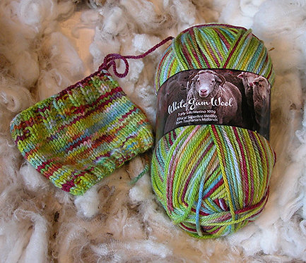 multi green red 4 ply merino wool
