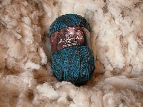 multi blue silk merino 5 ply white gum wool