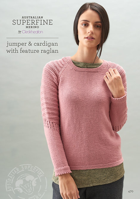 Jumper & Cardigan With Feature Raglan 470 by Cleckheaton