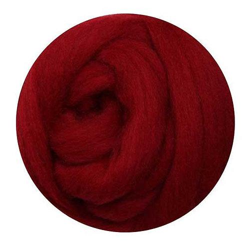 cherry red—Ashford Merino slivers