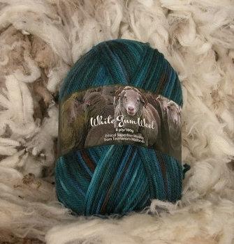 multi blue 8 ply merino white gum wool