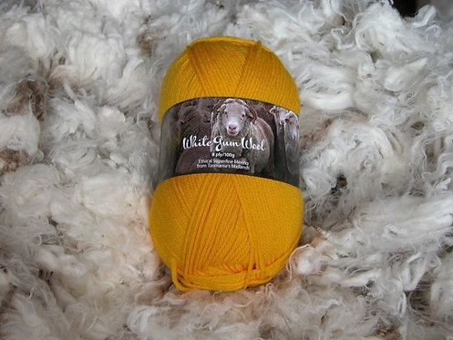 gold yellow 8 ply merino white gum wool