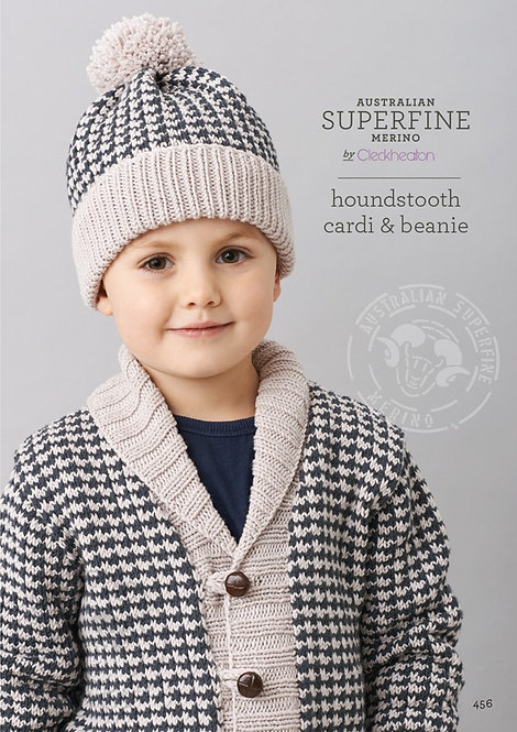 houndstooth cardi & beanie 456