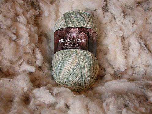 pale green multi silk merino 5 ply white gum wool