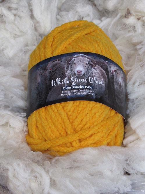 yellow boucle rope yarn white gum wool