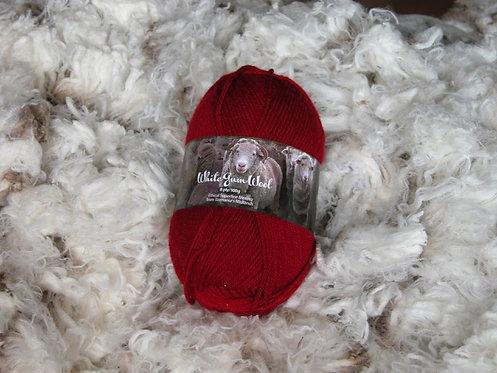hawthorn red 8 ply merino white gum wool