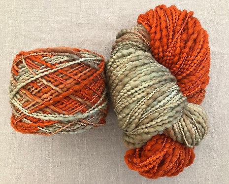 Rust/Sage—Merino Slub 12 ply 100g