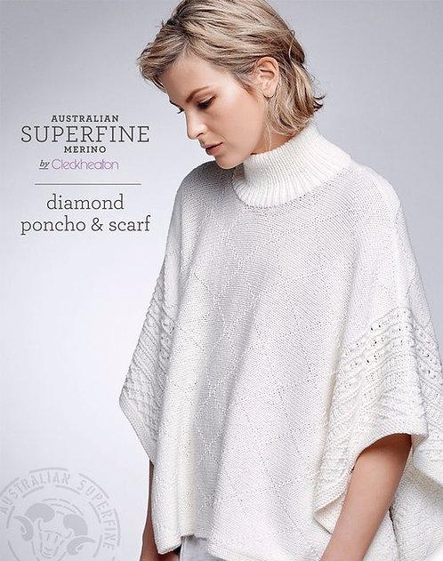 diamond poncho & scarf by Cleckheaton Pattern 435