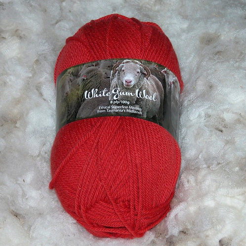 flame red 8 ply merino white gum wool