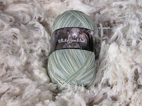 multi green 8 ply merino white gum wool