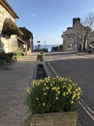 Spring flowers, Fore Street and the sea...Bay view is tucked around the corner on the left, facing the sea