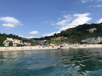 The beach and Bay View viewed from a boat