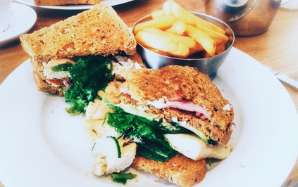 Club sandwich and chunky chips...yum