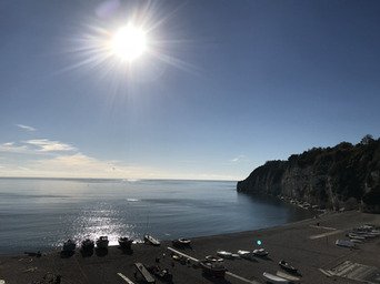 The view from Bay View...the beach, the bay and the cliffs.