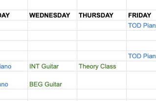 New Autumn Timetable