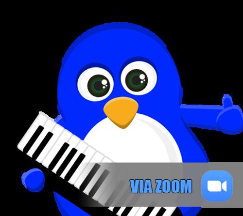 Fun-Keys4Kids cartoon penguin with piano