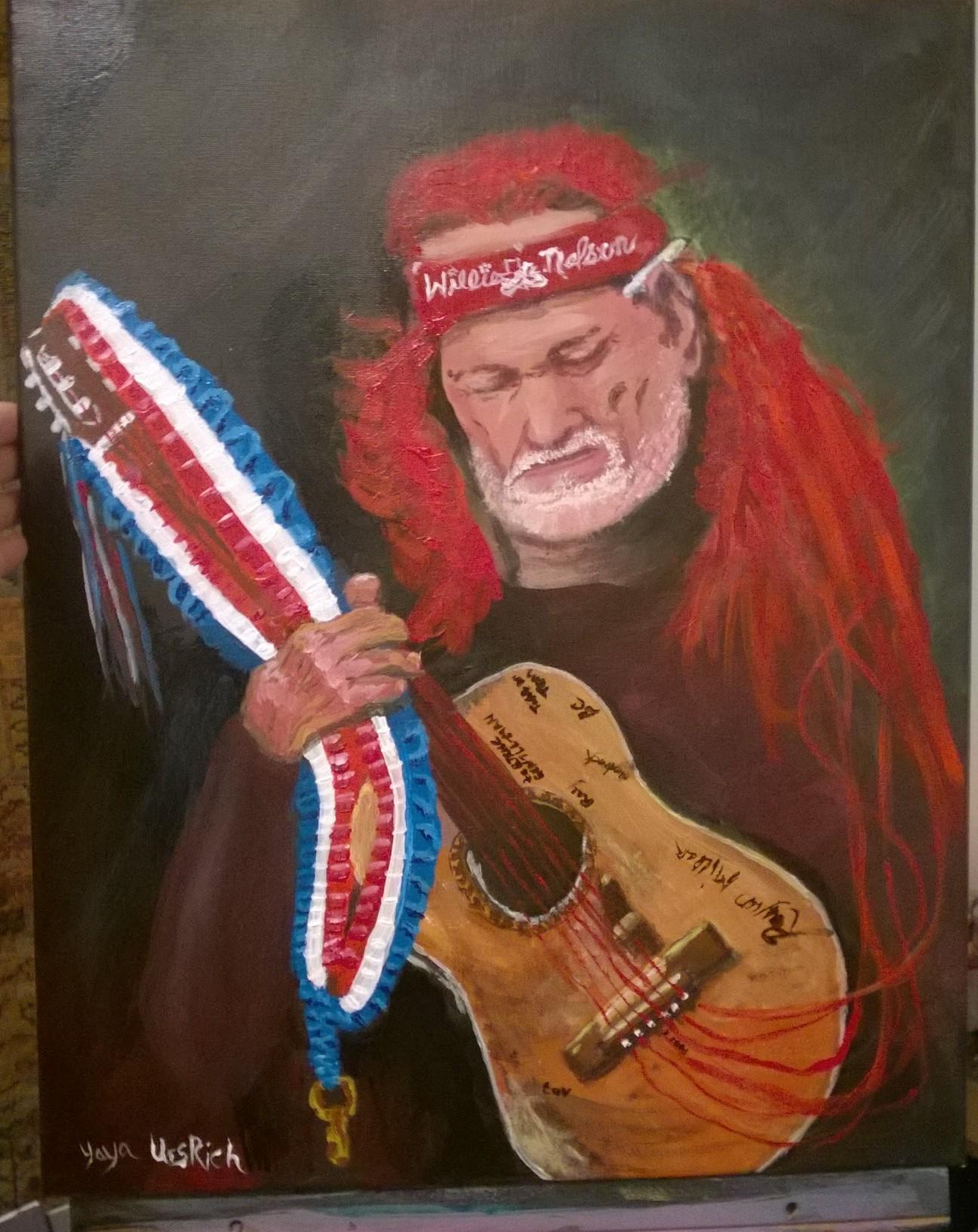 Willie Nelson Acrylic by Yaya UrsRich 2017