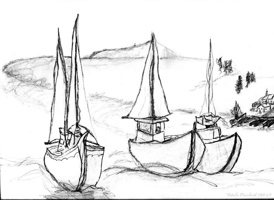 Sail boats and island