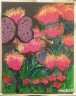 Took me three days to paint this 8×11 Butterfly and flowers by Ursula Richards