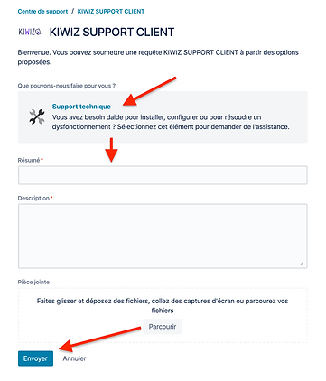 comment creer un ticket de support technique Kiwiz