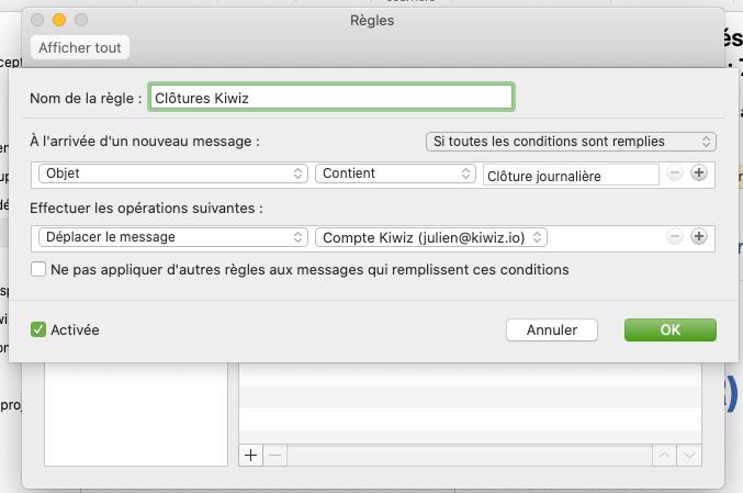 Créer une règle pour filtrer des emails dans Outlook