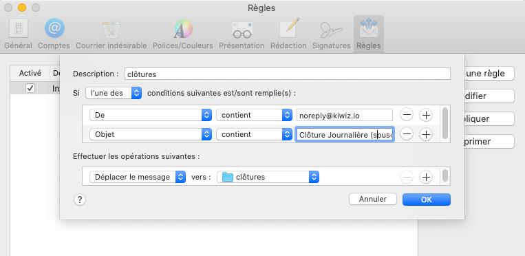 Créer une règle pour filtrer des emails Apple Mail