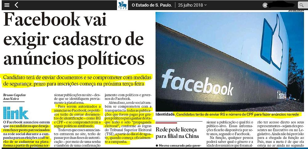 Facebook nas Eleições 2018