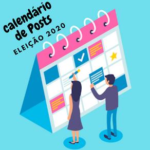 Calendário de postagens com caderno de posts para editar e publicar na sua campanha política