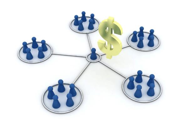 imagem peça azul representando produtor e varias peças em estrela representando afiliados gerando recursos financeiros para marketing político