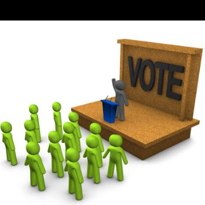 candidato político apresentando seus pontos fortes em reunião com grupo de pessoas formado por lista de e-mail marketing político.
