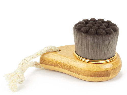 Charcoal bamboo facial brush with nanofibre bristles and wooden handle