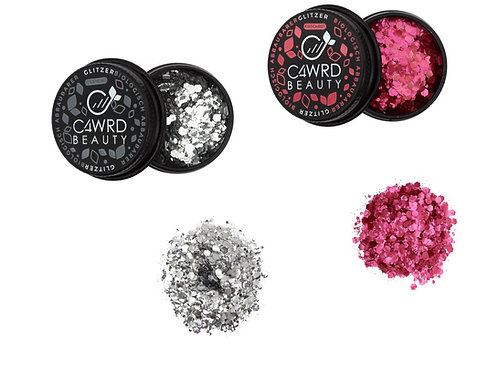 Biodegradable glitter 2 Set: Silver and Cherry