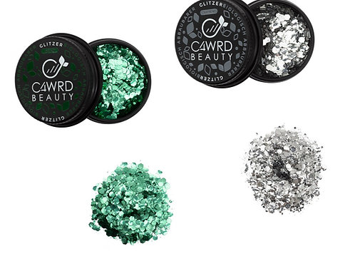 Biodegradable glitter 2 Set: Green and Silver