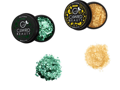 Biodegradable glitter 2 Set: Gold and Green