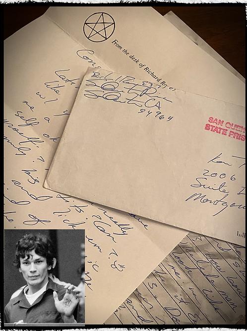 """Serial Killer """"Richard Ramirez"""" Letter and Envelope set"""