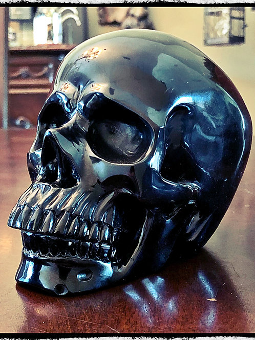 """Large Obsidian Crystal Skull 5"""" Scrying, Wicca, Pagan, Divination, Occult"""