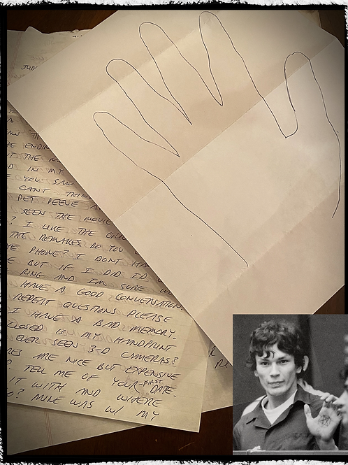 "Richard Ramirez"" 2 page letter , hand tracing, and envelope set"