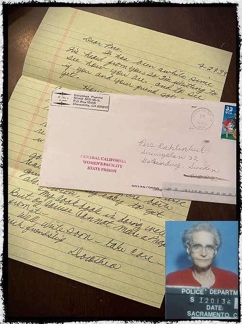 "Serial Killer ""Dorothea Puente"" - One Page Hand Written Letter with Envelope"