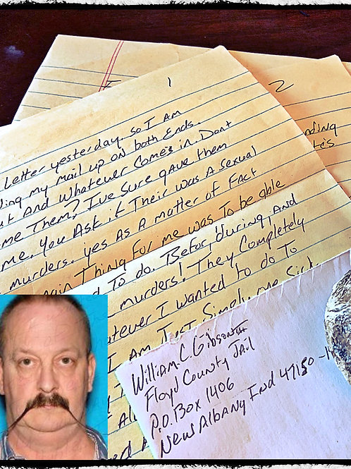 "William Clyde Gibson ""Serial killer"" - Three page handwritten, letter and envelo"
