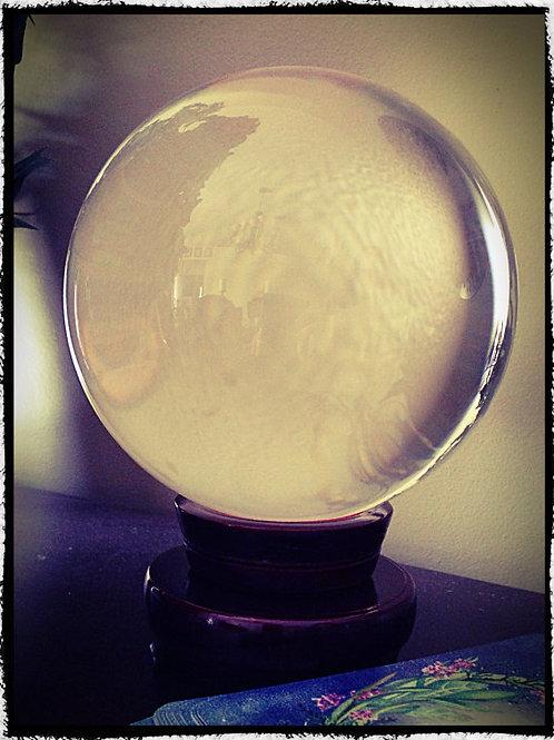 "Large Quartz Crystal Ball 5"" Diameter"