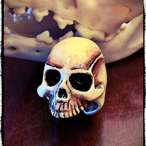 Solid Bronze Bone Colored Skull Ring - Adjustable