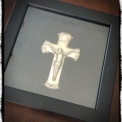 Framed Antique Metal Child Casket Crucifix - Coffin Cross