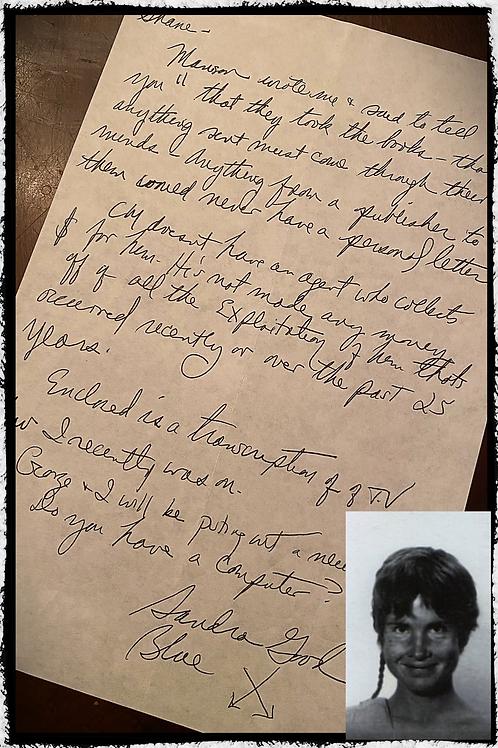 Sandra Good - Manson Family - Handwritten Letter