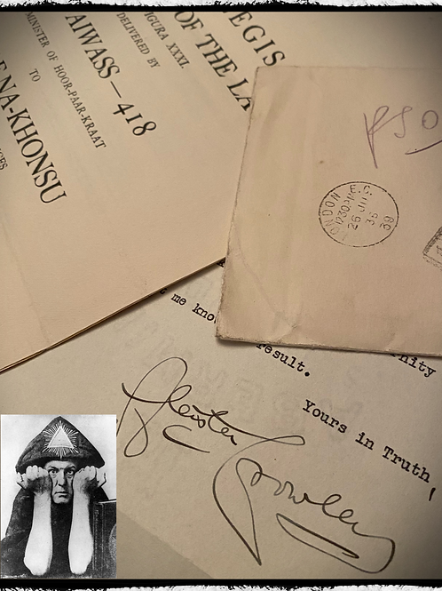 Aleister Crowley - Hand Typed, Hand Signed, Set With Original Prospectus