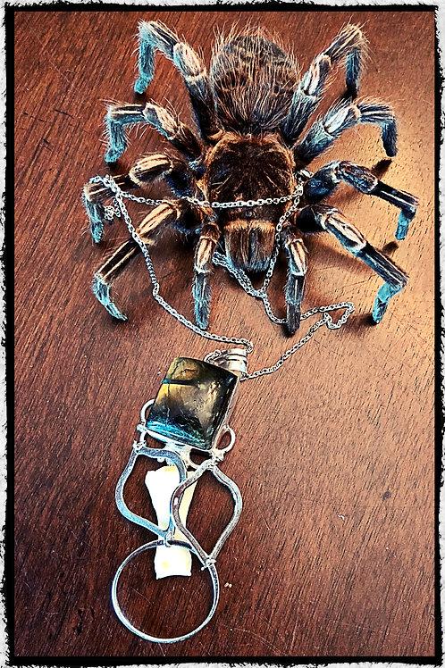 Human Bone Sterling Silver Labodorite Pendant Necklace