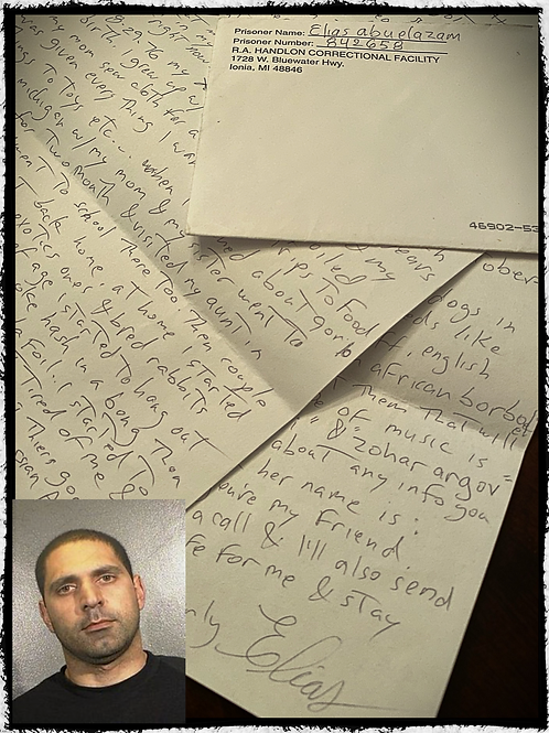 "Elias Abuelazam ""AKA"" Flint Serial Killer - letter and envelope set"