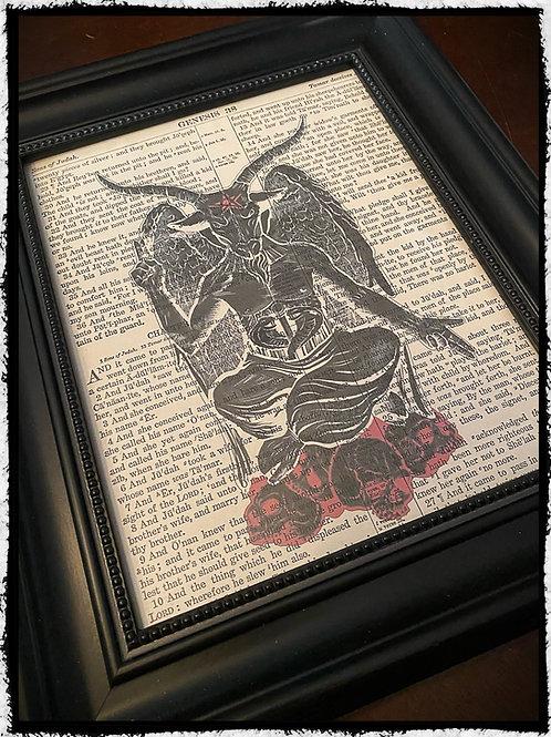Framed Baphomet on vintage bible page.
