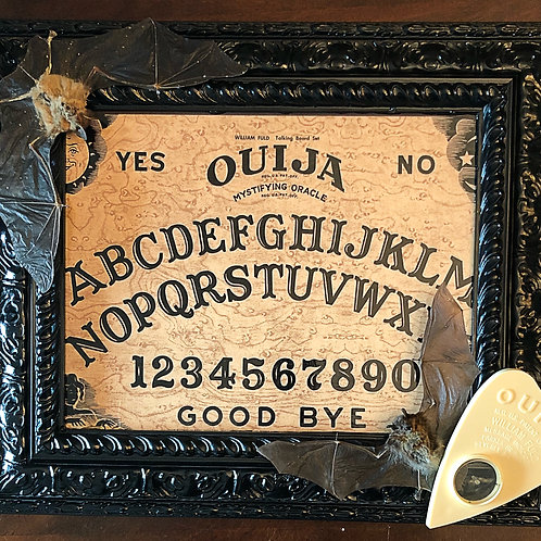 Double Taxidermy Bat and Ouija Display
