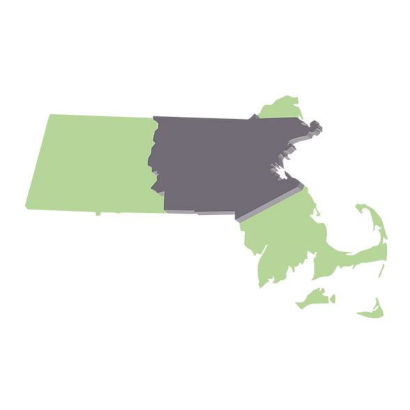 Map of Massachusetts and Heavens Harvest Farm's delivery area.