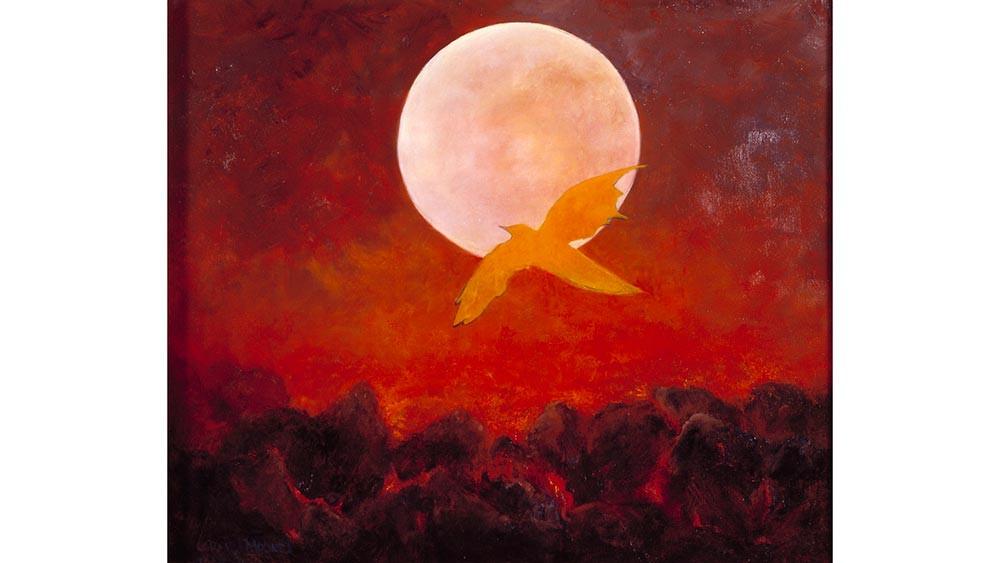 Fantasy Bird and Volcanic Moon